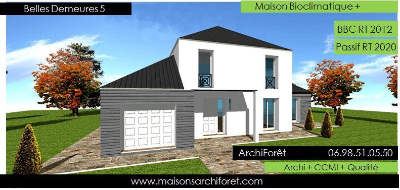maison bois toiture zinc 4 pentes ou mansart et. Black Bedroom Furniture Sets. Home Design Ideas
