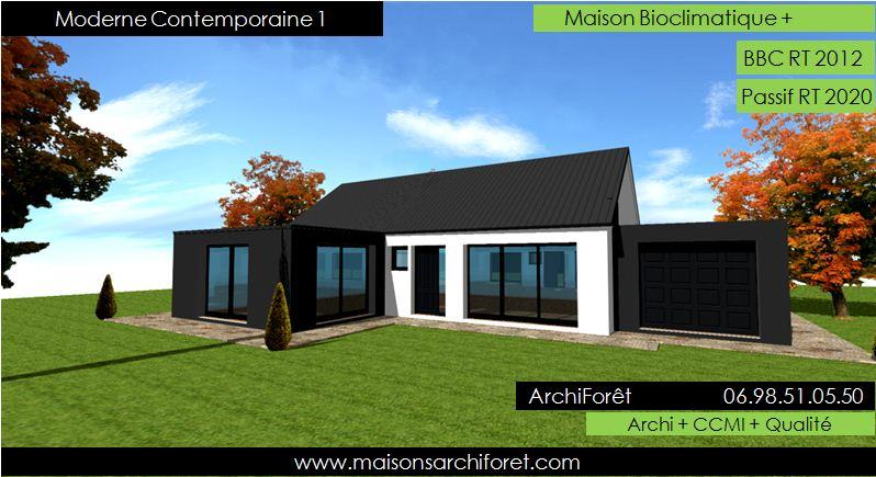 Plan et photo maison plain pied en l ou plein pied en rez de chaussee rdc par votre architecte - Plan maison plein pied moderne ...