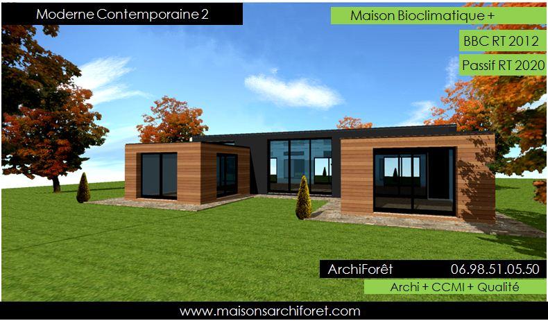 Plan et photo maison plain pied en l ou plein pied en rez de chaussee rdc par votre architecte - Plan maison bois contemporaine ...