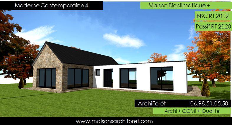 Plan et photo maison plain pied en l ou plein pied en rez de chaussee rdc par votre architecte - Plan de maison sans toit ...
