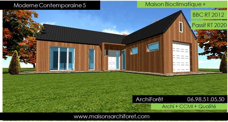 Plan et photo maison plain pied en l ou plein pied en rez de chaussee rdc par votre architecte for Maison contemporaine bois