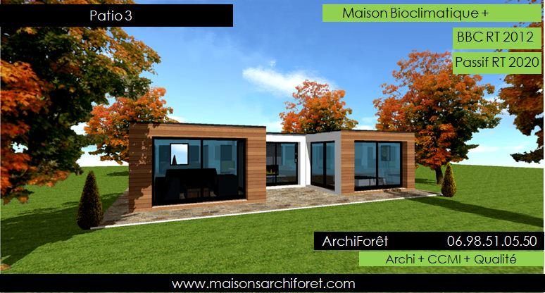 Maison contemporaine plain pied avec patio ventana blog for Plan de maison cubique toit plat
